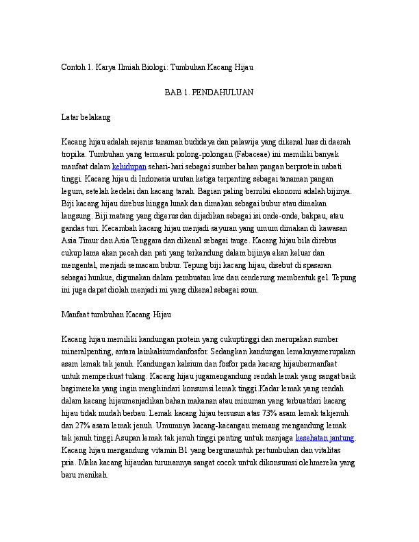 Doc Contoh 1 Karya Ilmiah Biologi Tumbuhan Kacang Hijau Hizki Madriddista Academia Edu