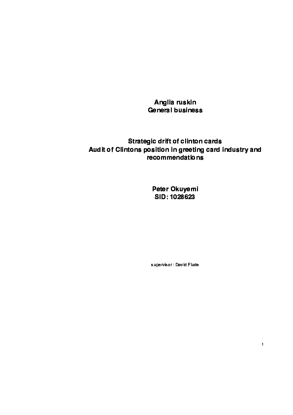 PDF) Strategic drift of clinton cards | Ade Okuyemi - Academia edu