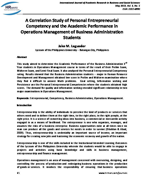 PDF) A Correlation Study of Personal Entrepreneurial