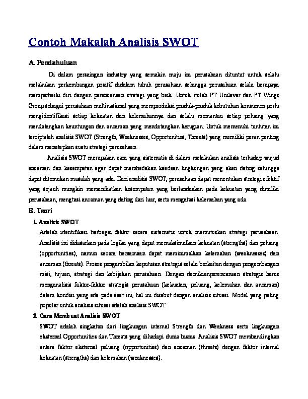 Contoh Makalah Analisis Swot Anton Nissya Academia Edu