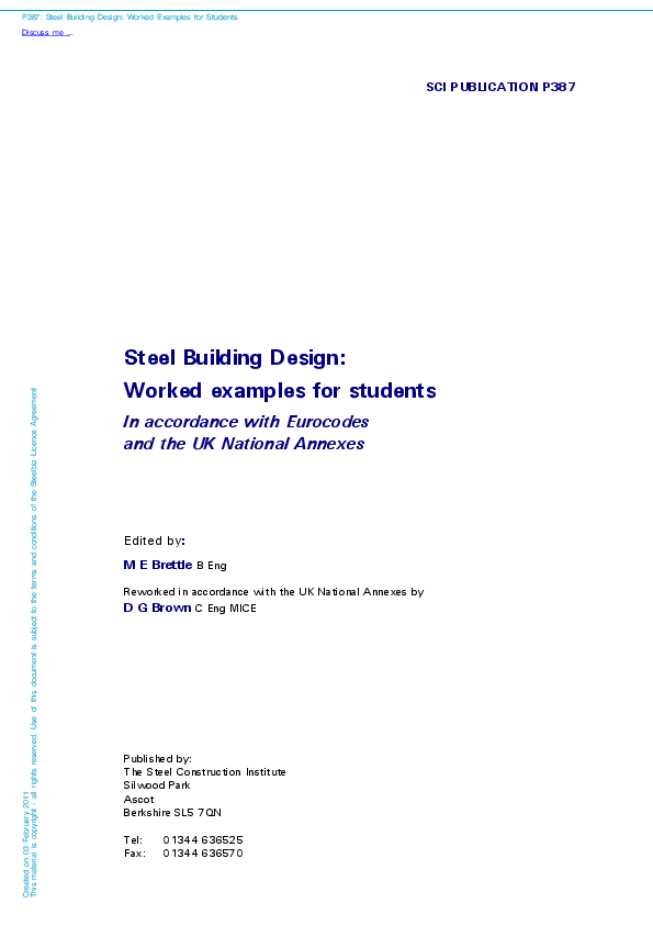 PDF) SCI PUBLICATION P387 Steel Building Design: Worked examples for