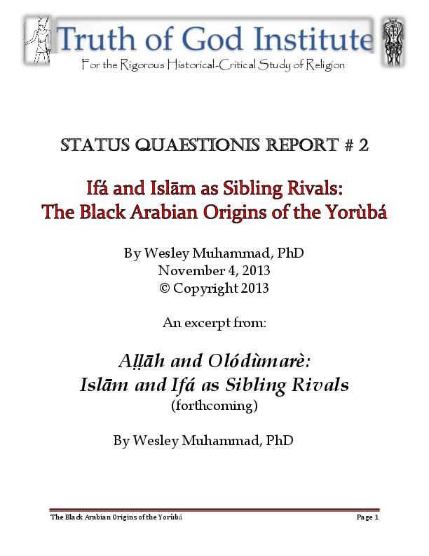 PDF) The Black Arabian Origins of the Yorùbá and Olódùmarè: Islām