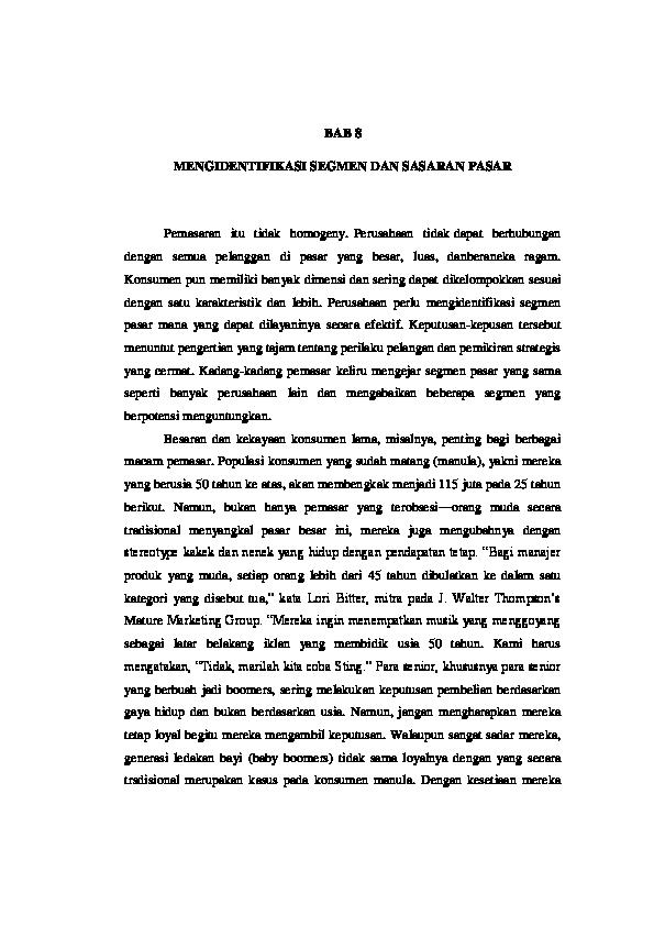 Doc Bab 8 Mengidentifikasi Segmen Dan Sasaran Pasar Lisa Purnami Academia Edu