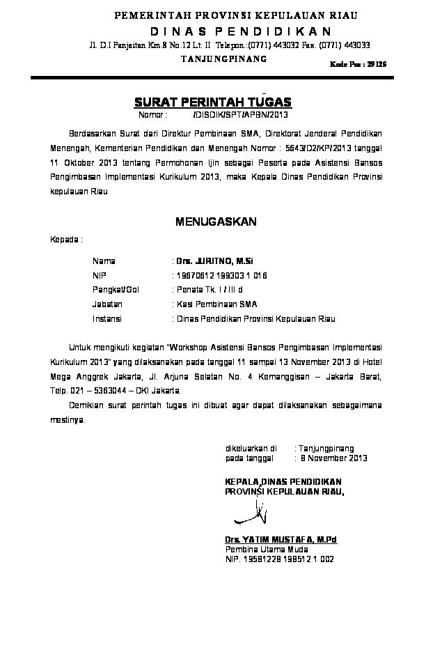 Doc Surat Perintah Tugas Kepala Dinas Pendidikan Provinsi