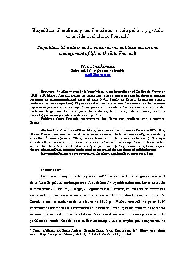 Pdf Biopolítica Liberalismo Y Neoliberalismo Acción