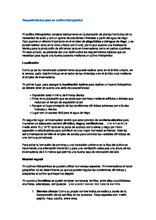 Doc Requerimientos Para Un Cultivo Hidropónico Roberto