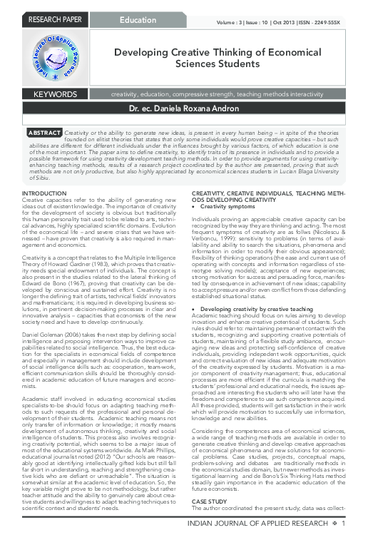 PDF) Developing Creative Thinking of Economical Sciences