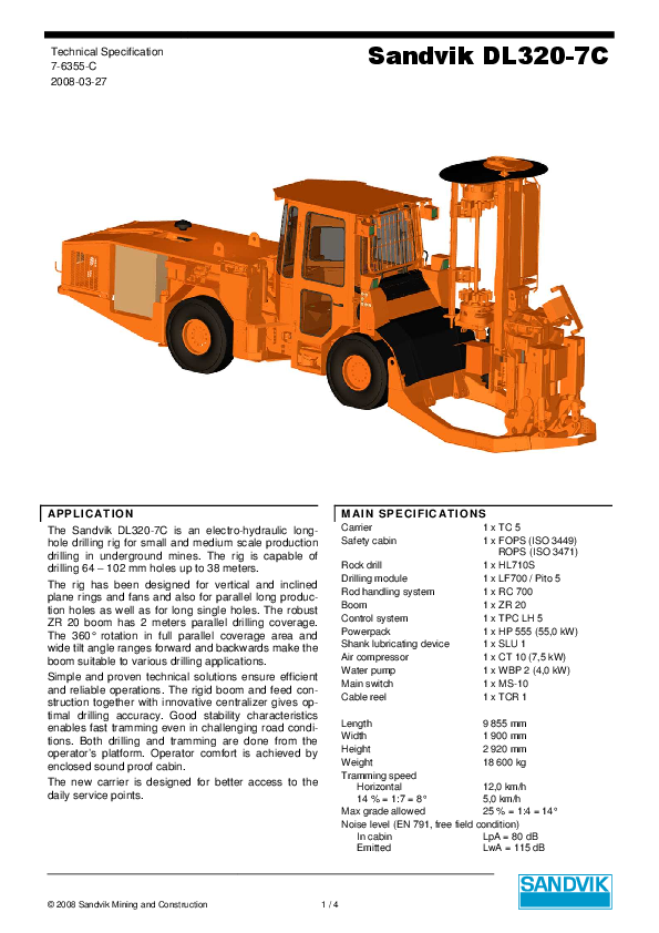 PDF) Sandvik DL320-7C © 2008 Sandvik Mining and Construction 1 / 4
