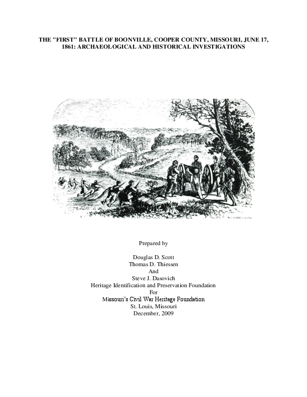 PDF) Civil War Battle of Boonville, Missouri, Archaeology