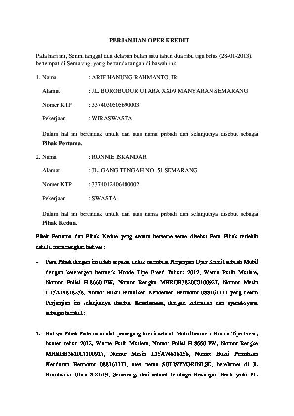 Doc Perjanjian Oper Kredit Yoni Handiyono Academiaedu