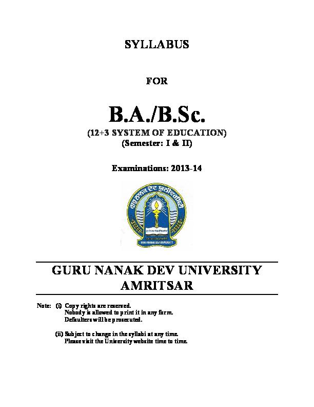 PDF) SYLLABUS FOR | Varinder Kumar - Academia.edu on