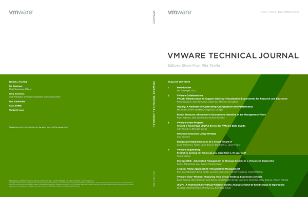 PDF) VMWARE TECHNICAL JOURNAL SPECIAL THANKS Pat Gelsinger Chief