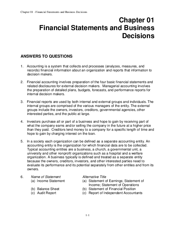 Pdf Chapter 01 Financial Statements And Business