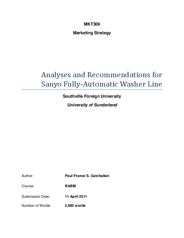 PDF) Analyses and Recommendations for Sanyo Fully-Automatic Washer