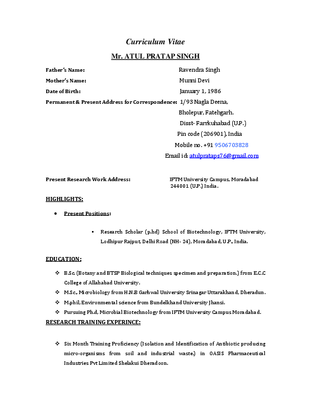 PDF) Curriculum Vitae Father's Name: Mother's Name: RESEARCH
