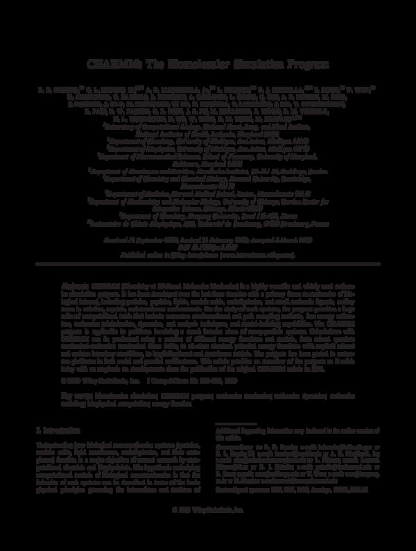 PDF) CHARMM: The Biomolecular Simulation Program | Benoit Roux