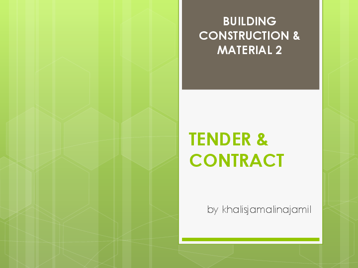 PPT) LECT 2 - TENDER & CONTRACT | Khalis J - Academia edu