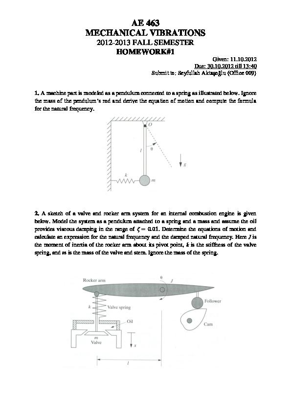 PDF) AE 463 MECHANICAL VIBRATIONS   Cetin Metin - Academia edu