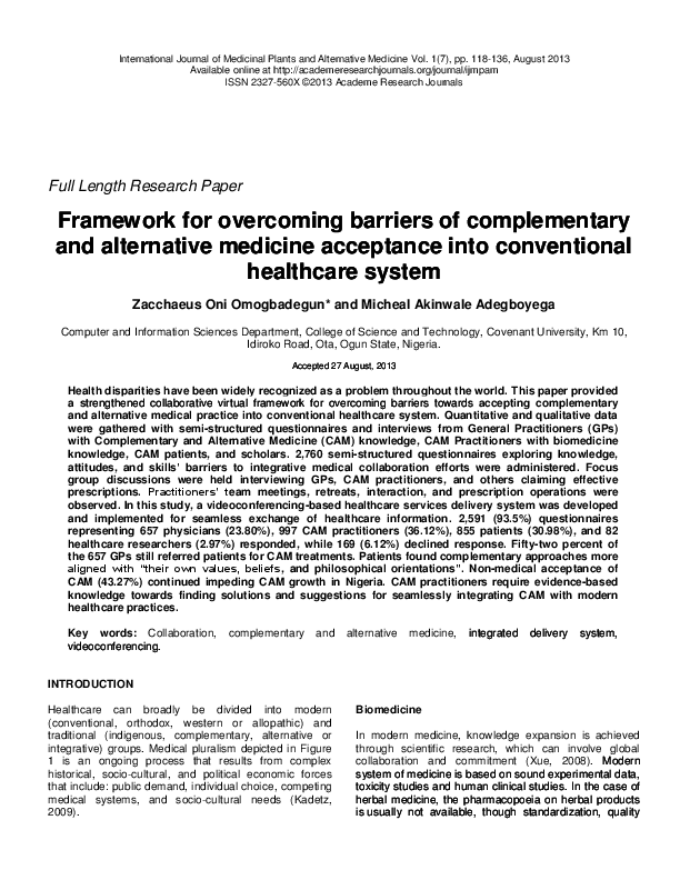 PDF) Framework for overcoming barriers of complementary and