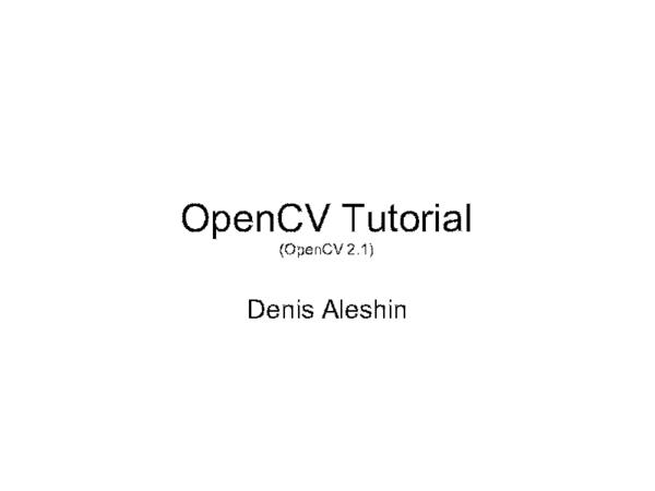 PDF) OpenCV Tutorial | Robi Anto - Academia edu