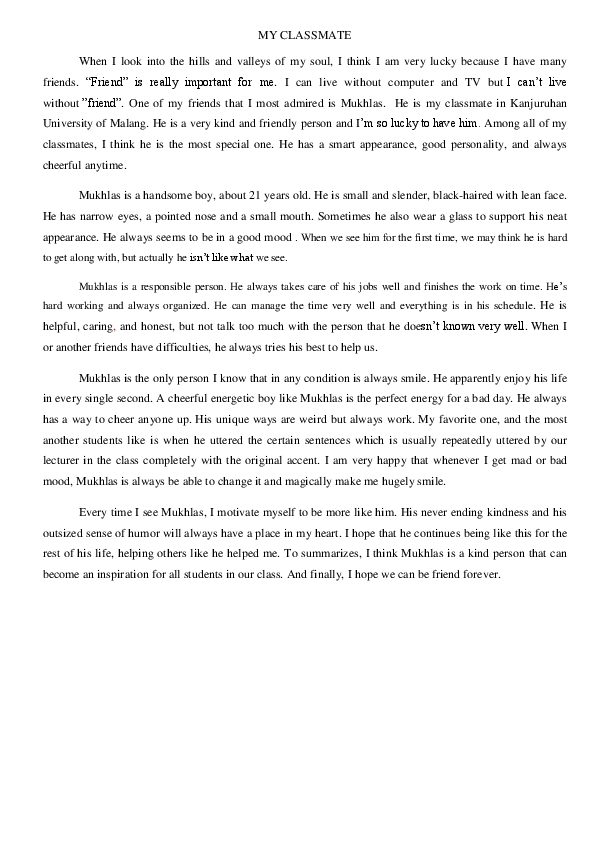 essay on my best friend for class 9