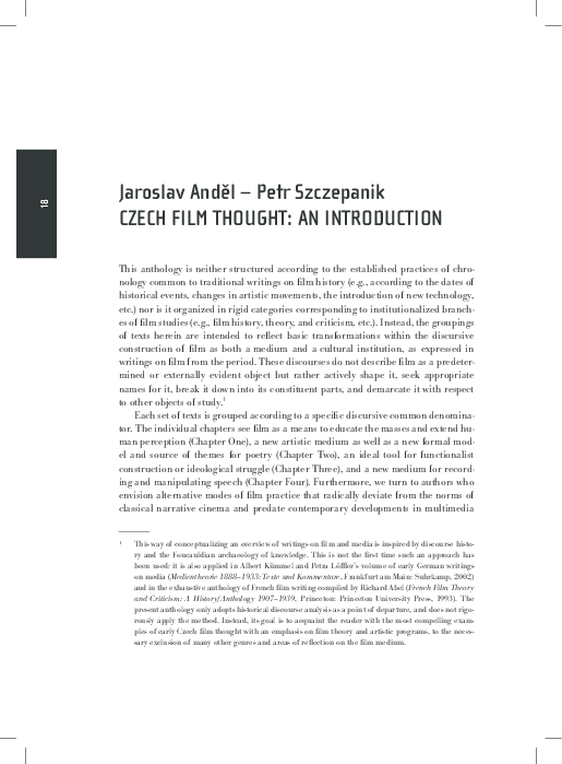 Pdf Jaroslav Andel And Petr Szczepanik Czech Film Thought An Introduction In Cinema All The Time An Anthology Of Czech Film Theory And Criticism 1908 1939 Prague National Film Archive Ann Arbor Michigan