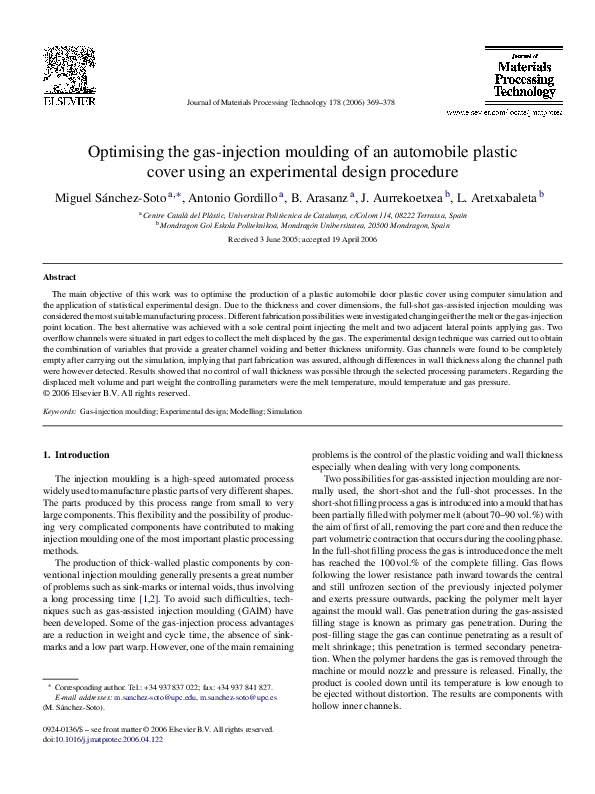 Pdf Optimising The Gas Injection Moulding Of An Automobile Plastic Cover Using An Experimental Design Procedure Mestrado Uezo Academia Edu