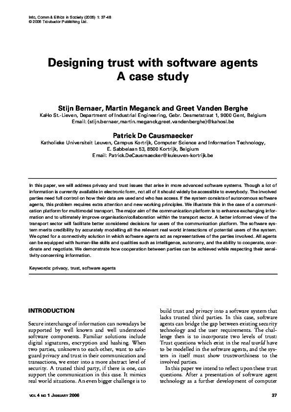 PDF) Designing trust with software agents A case study