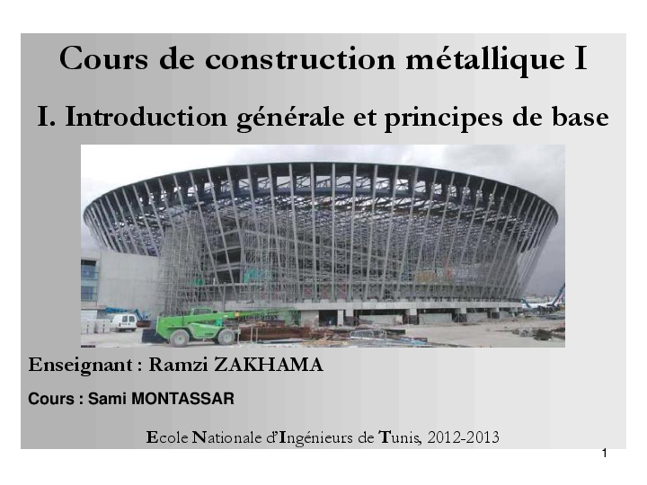 Pdf cours de construction m tallique i badreddine besbes for Cours de construction pdf