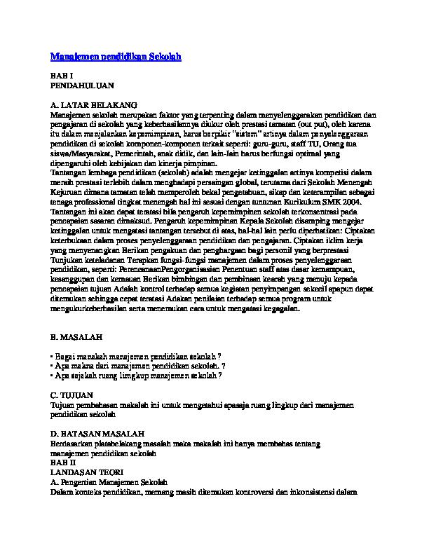 Doc Makalah Manajemen Pendidikan Aby Kembar Academia Edu