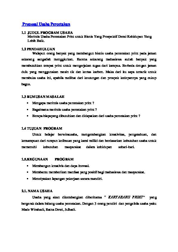 Contoh Proposal Bantuan Dana Usaha Percetakan Gambaran