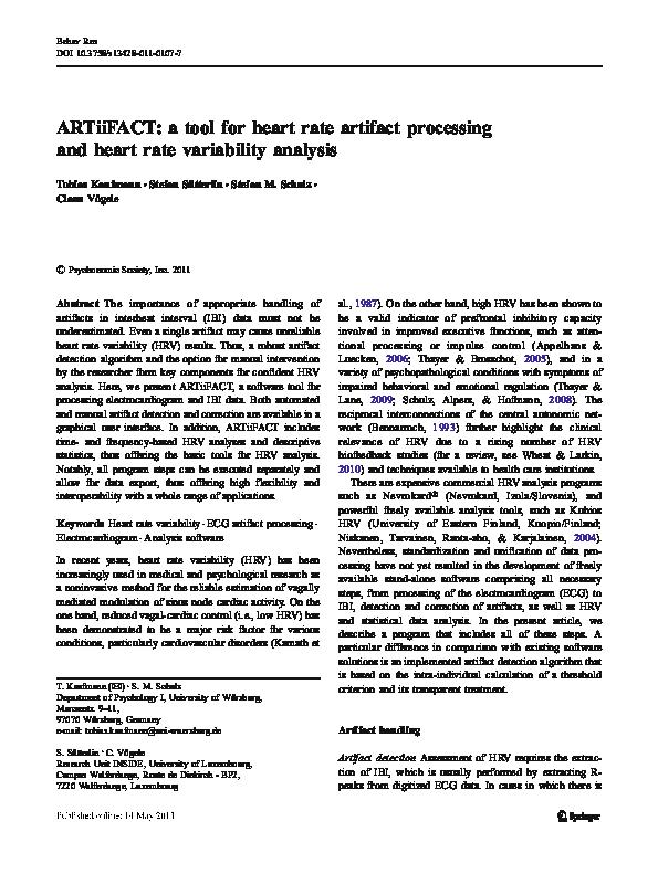PDF) ARTiiFACT: a tool for heart rate artifact processingand