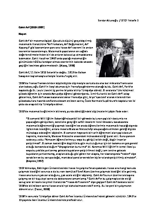 Pdf Bilim Tarihi Matematik Prof Cahit Arfın Hayatı Ve