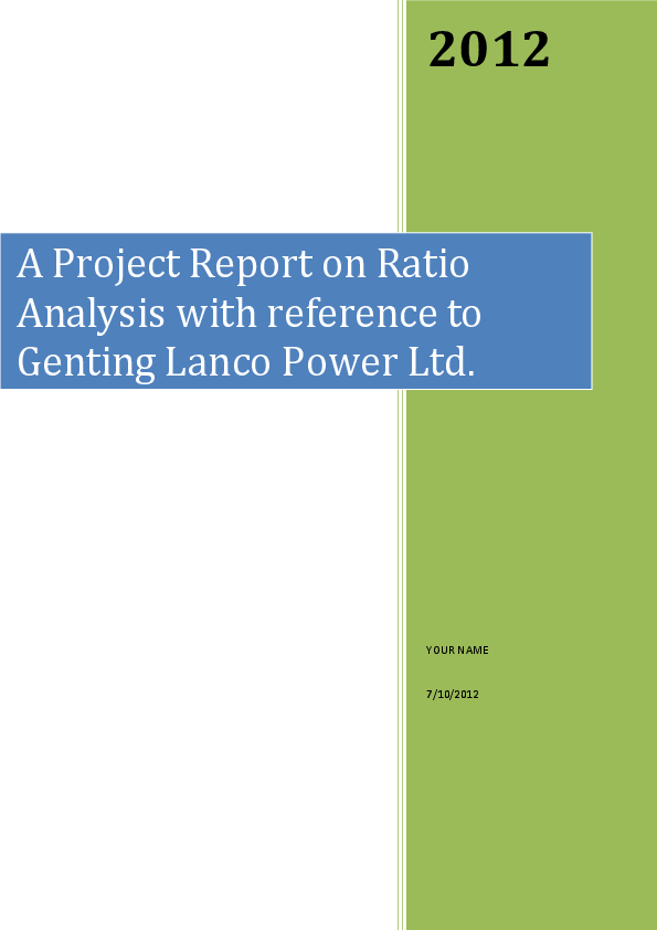 PDF) A Project Report on Ratio Analysis with reference to