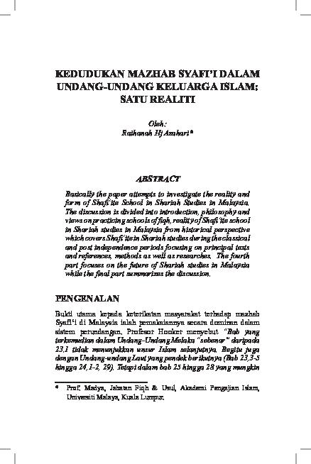 Pdf Kedudukan Mazhab Syafi I Dalam Undang Undang Keluarga Islam Satu Realiti Jurnal Fiqh Apium Academia Edu