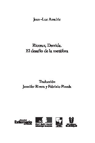 Pdf Traducción Jean Luc Amalric Ricoeur Derrida El