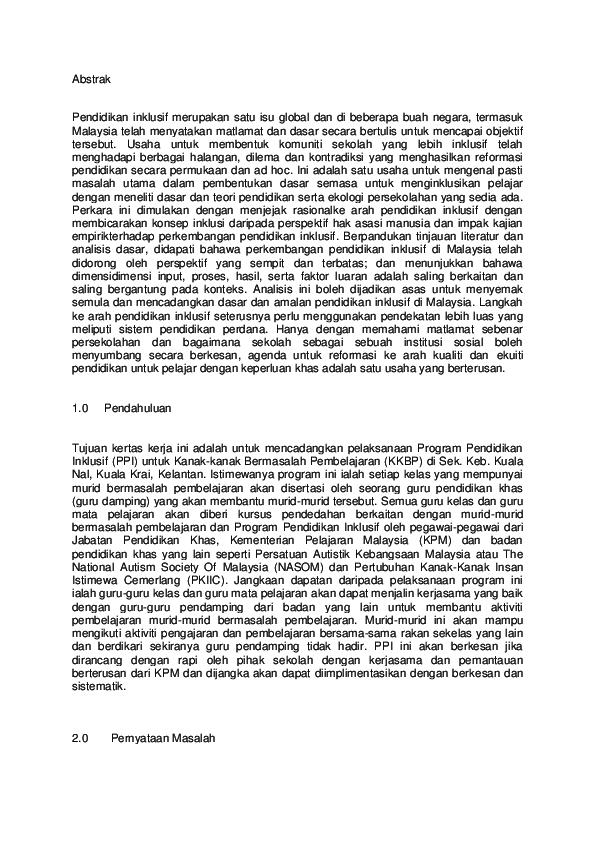 Doc Contoh Pendidikan Inklusif Mohd Khairul Anwar Antazam Academia Edu