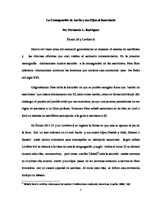 PDF) La Consagración de Aarón y sus Hijos al Sacerdocio