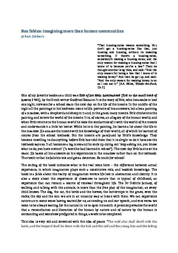 Pdf Bee Fables Johan Siebers Academiaedu
