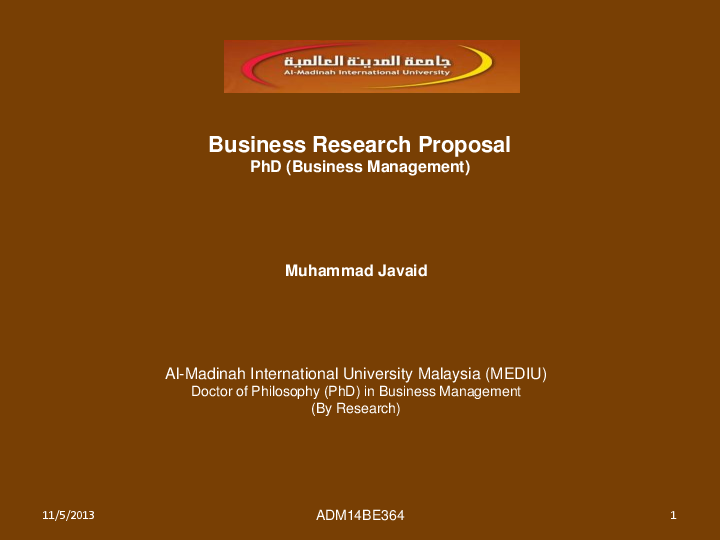 Doctor of business administration research proposal