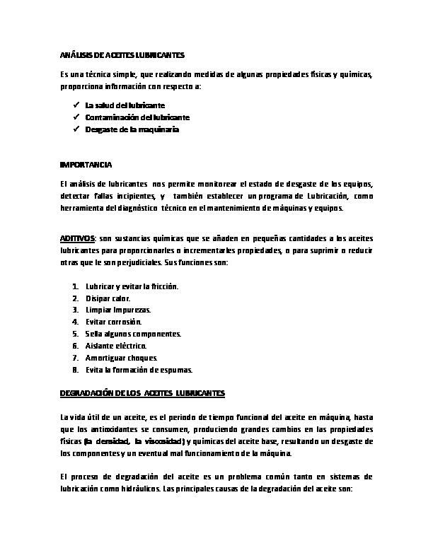 Técnicas de inspección de lubricantes