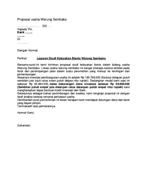 Doc Proposal Usaha Warung Sembako Alfa Arita Academia Edu