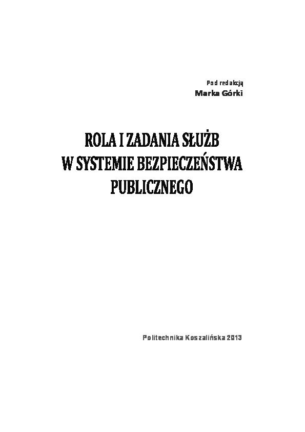 c8cd7774c998f PDF) Rola i zadania służb w systemie bezpieczeństwa publicznego ...