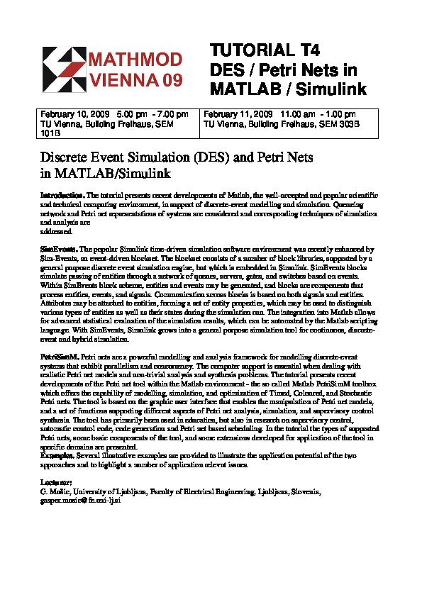PDF) TUTORIAL T4 DES / Petri Nets in MATLAB / Simulink Discrete