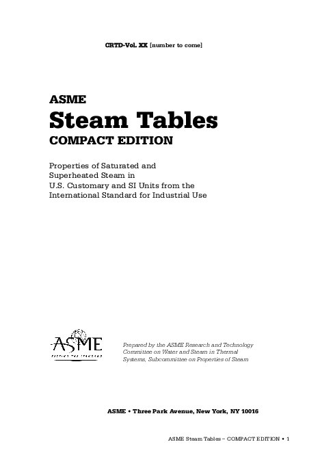 steam table pdf in si units