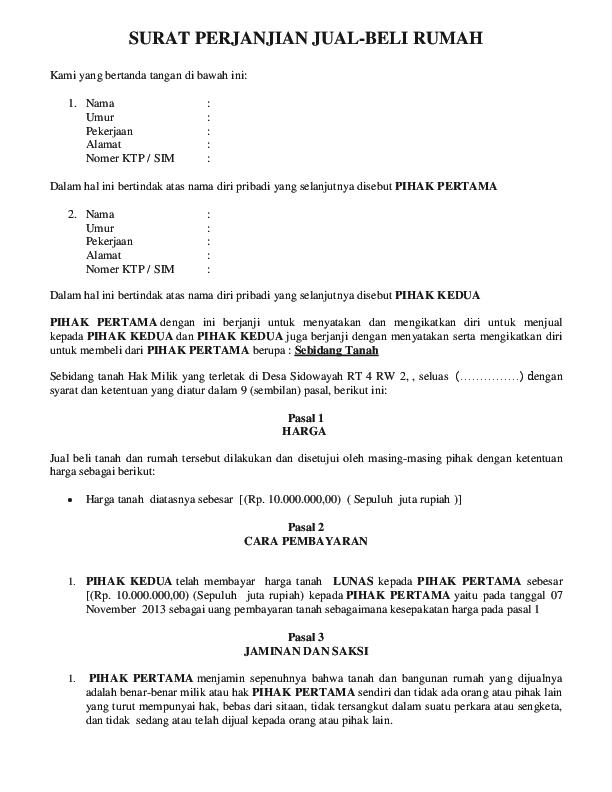 Doc Surat Perjanjian Jual Beli Rumah Muchlis Ridlo