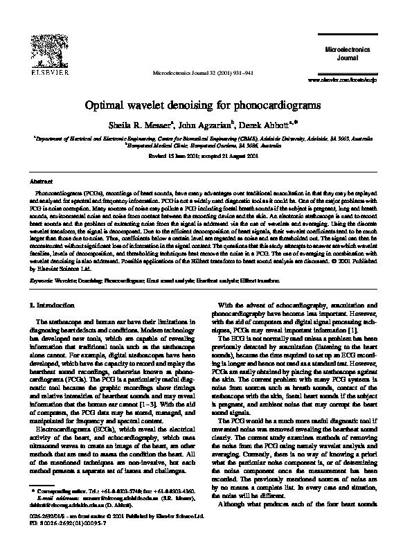 PDF) Optimal Wavelet Denoising for Phonocardiograms   Derek Abbott