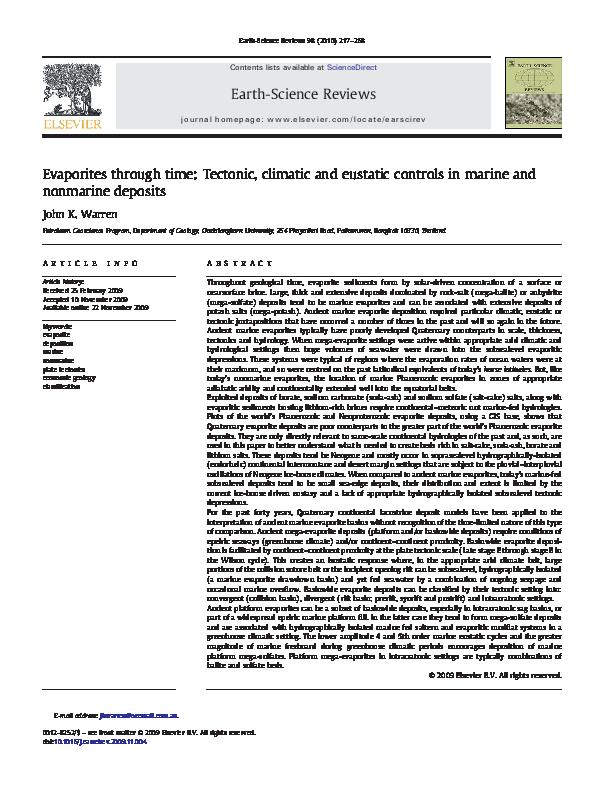PDF) Evaporites through time: Tectonic, climatic and eustatic