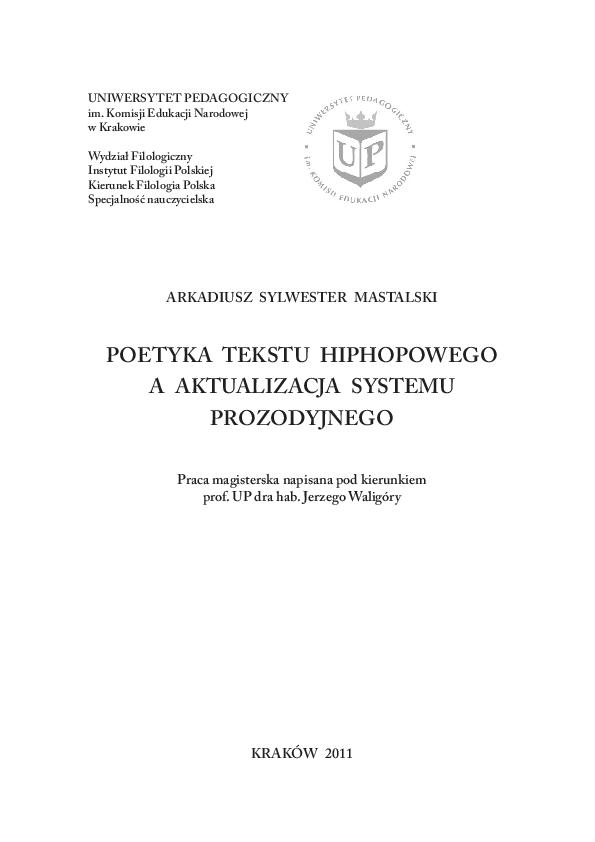 Pdf Poetyka Tekstu Hiphopowego A Aktualizacja Systemu