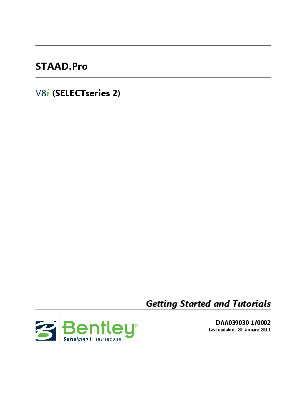 PDF) STAAD Pro V8i (SELECTseries 2) Getting Started and